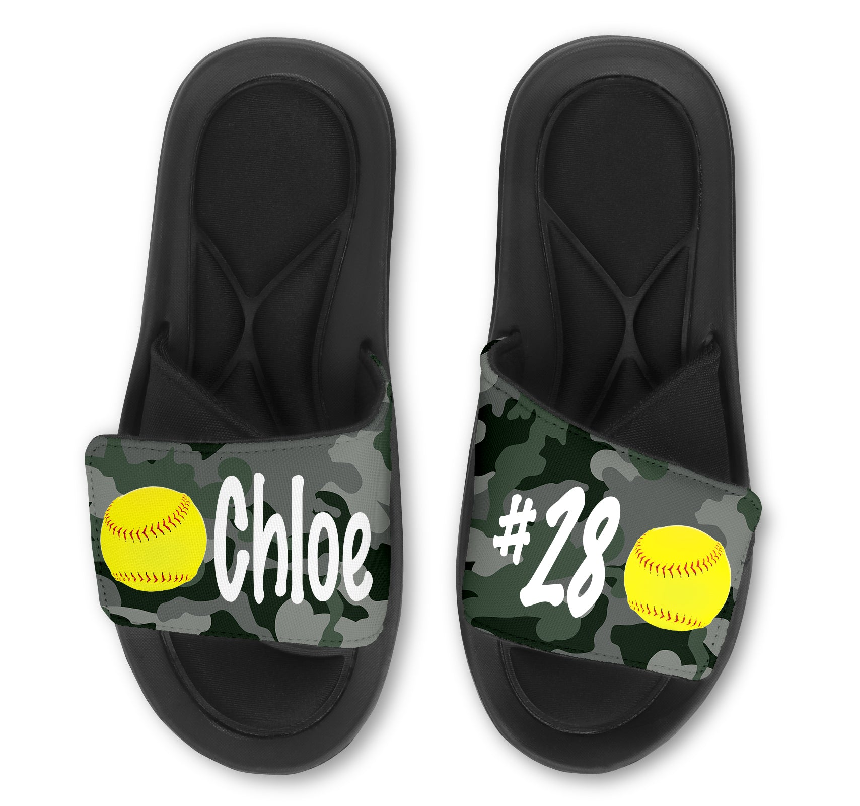 Softball Custom Slides / Sandals - Camo
