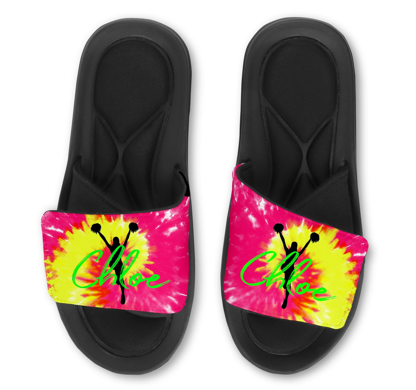 Cheerleader Tie Dye Custom Slides / Sandals - Choose your Background!