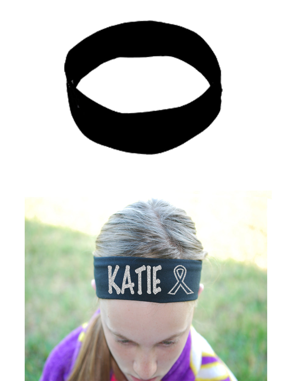 Cancer Awareness Ribbon Headband (Cotton/Lycra) - Sparkle Letters!