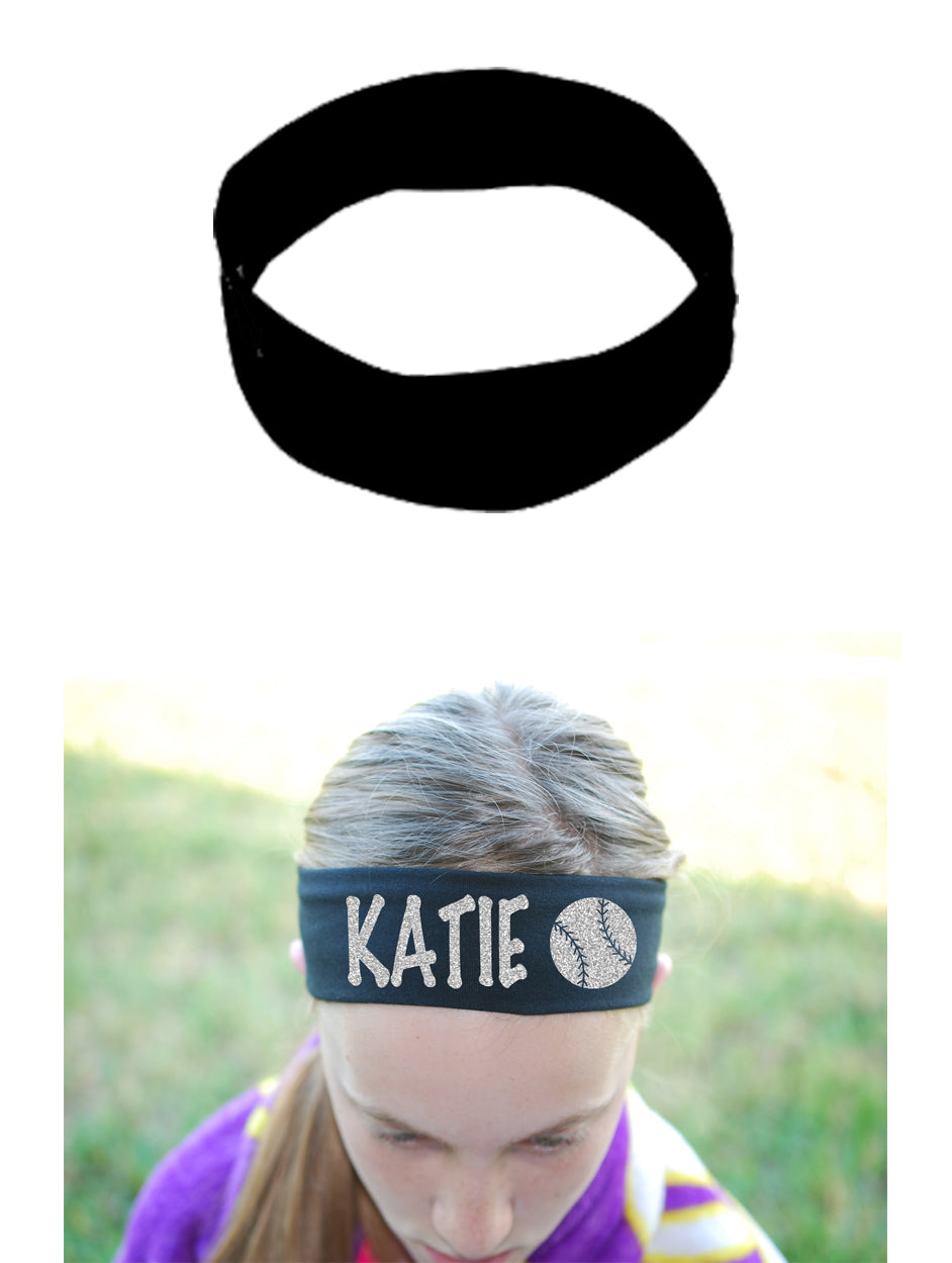 Custom Baseball Headband (Cotton/Lycra) - Sparkle Letters!