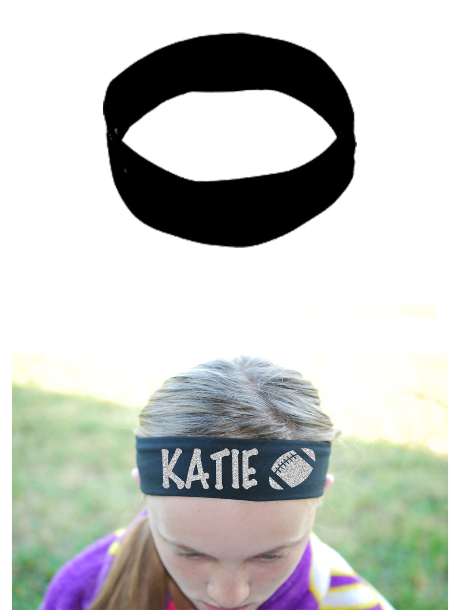 Custom Football Headband (Cotton/Lycra) - Sparkle Letters!