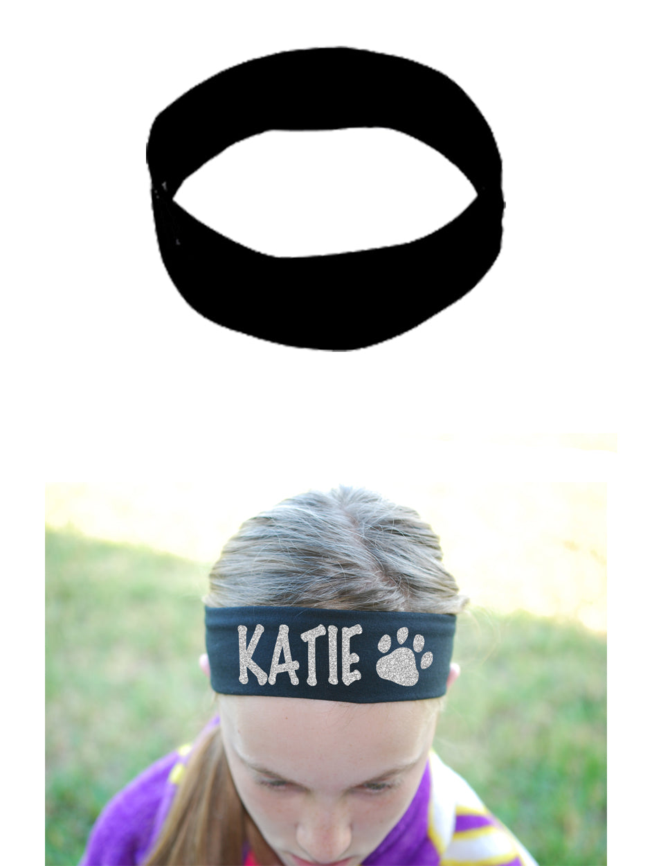 Custom Paw Headband (Cotton/Lycra) - Sparkle Letters!