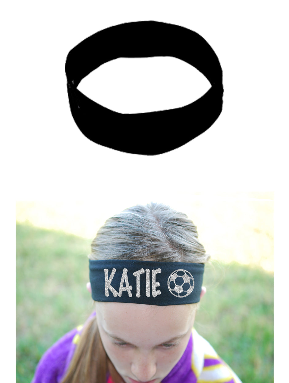 Custom Soccer Headband (Cotton/Lycra) - Sparkle Letters!