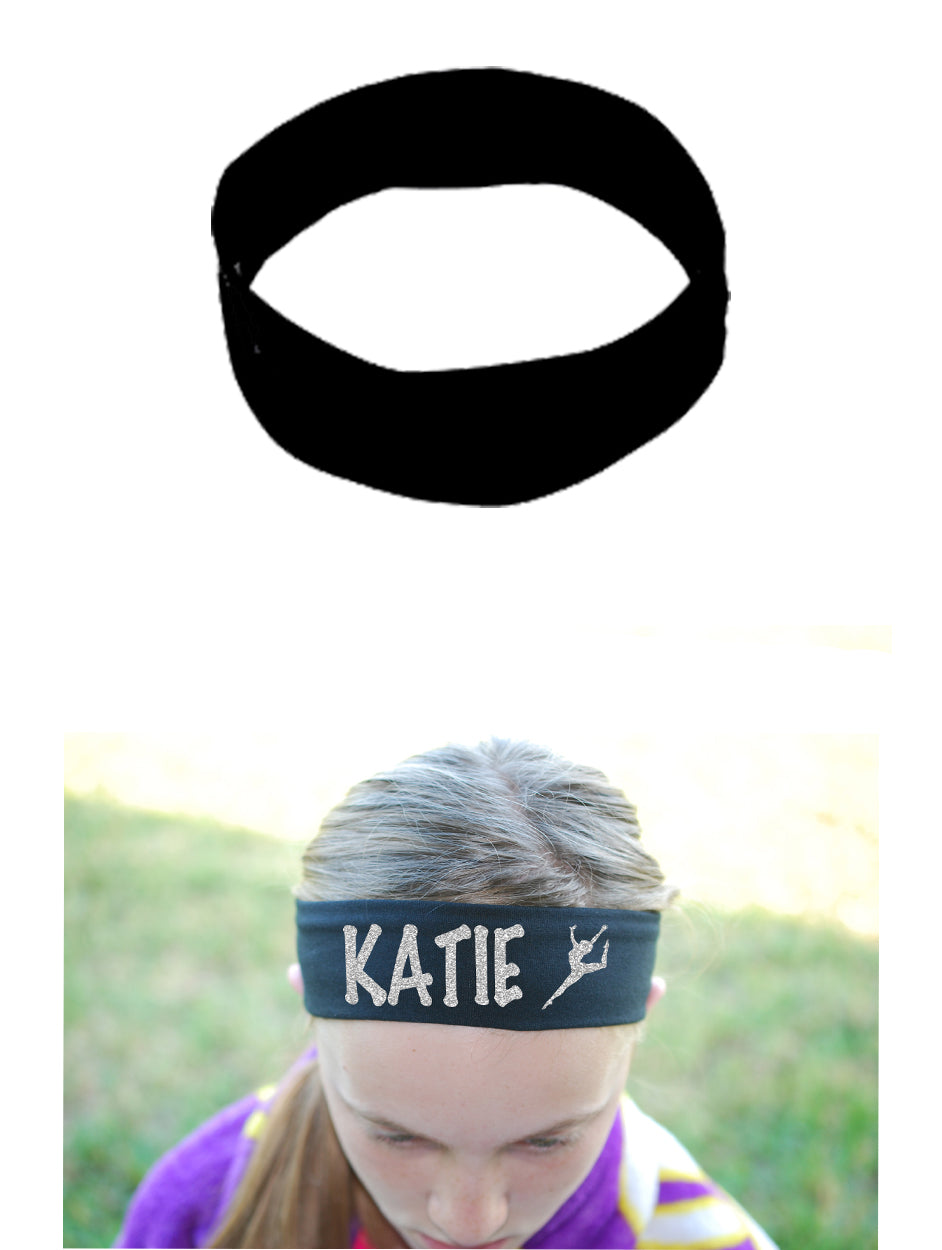 Custom DANCE Leg Up Cotton Headband - Sparkle Letters!