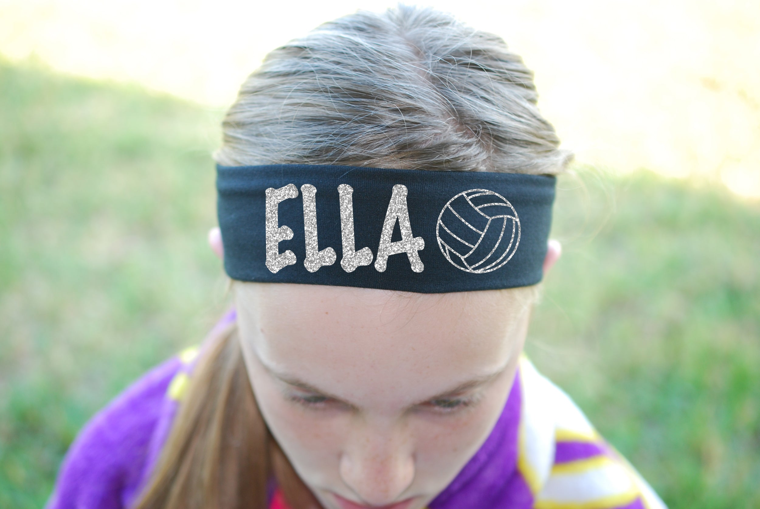 Custom Volleyball Headband (Cotton/Lycra) - Sparkle Letters!