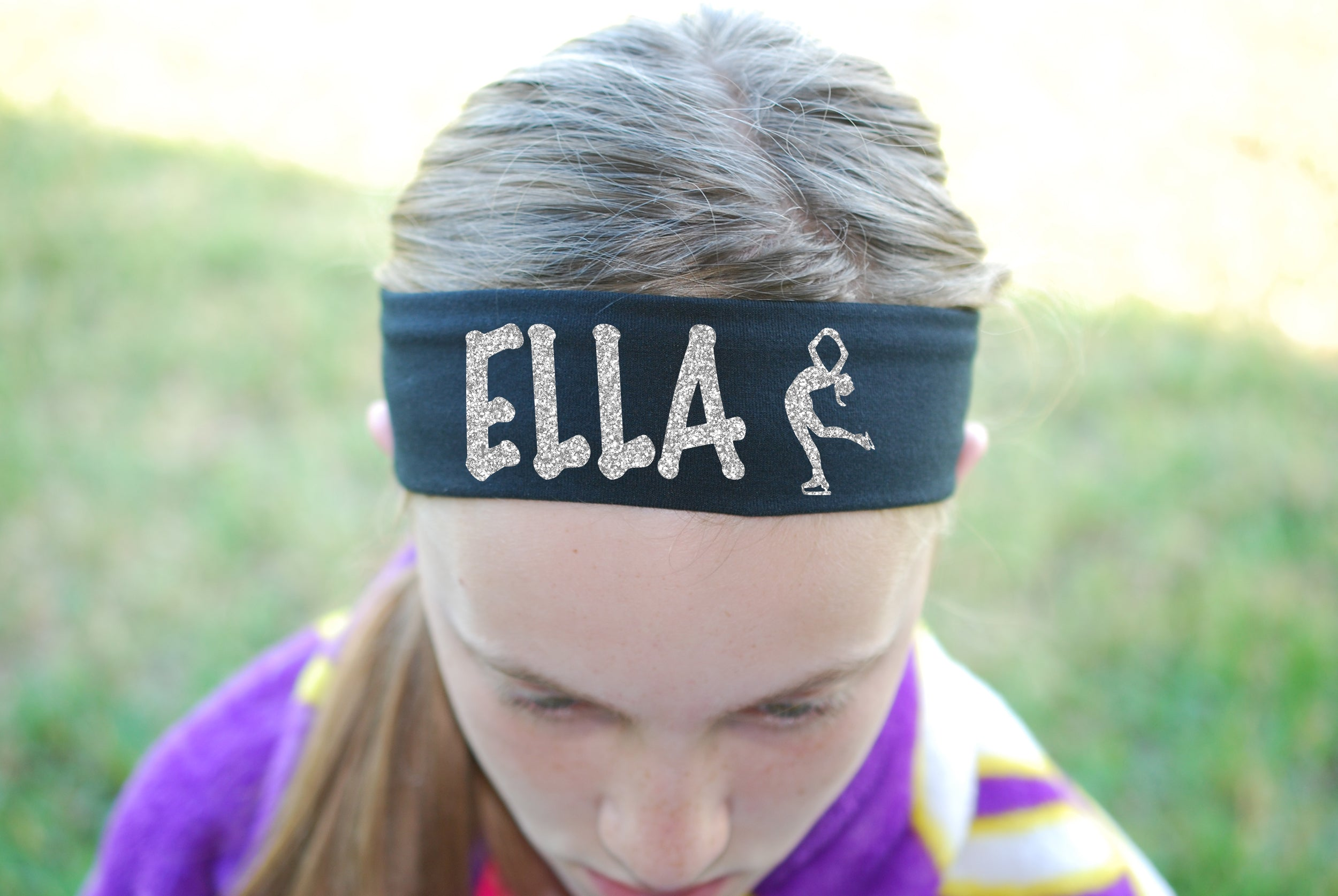 Custom Figure Skating Headband (Cotton/Lycra) - Sparkle Letters!