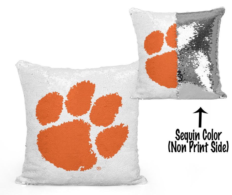 Clemson Paw Sequin Flip Pillow