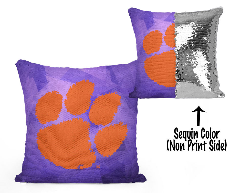 Clemson Paw Sequin Flip Pillow - Purple Prism Design