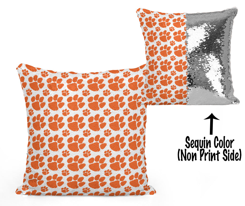 Clemson Sequin Flip Pillow - Logos Design