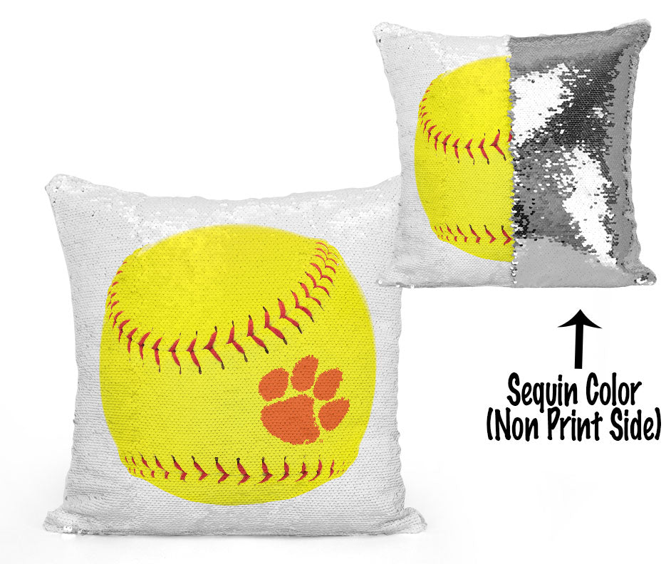 Clemson Sequin Flip Pillow - Clemson Softball/Fastpitch