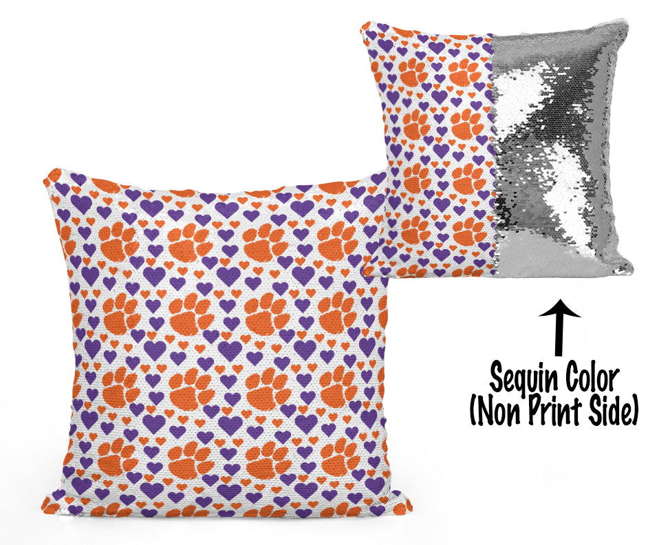 Clemson Sequin Flip Pillow - Hearts Design