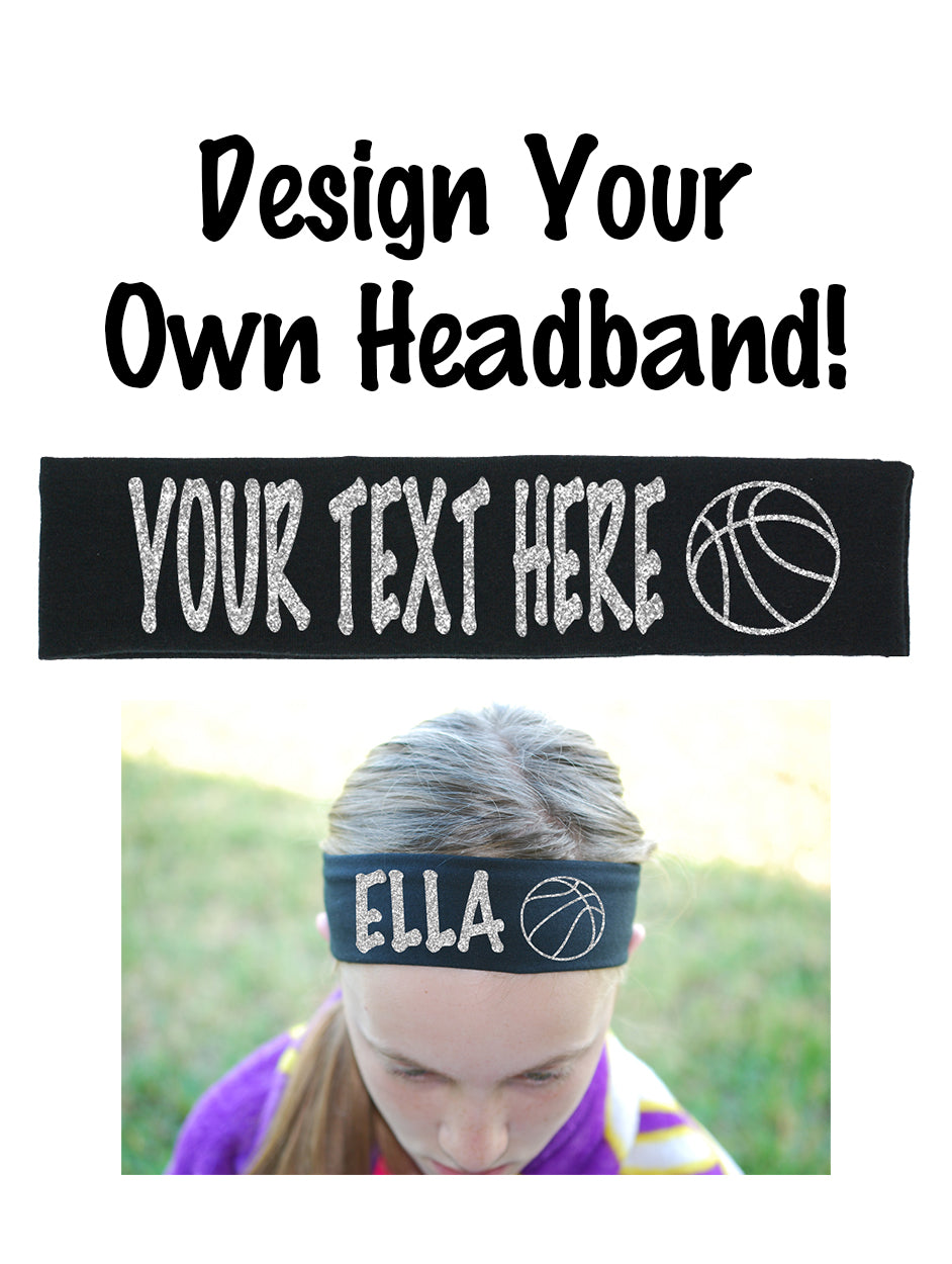 Custom Basketball Headband (Cotton/Lycra) - Sparkle Letters!