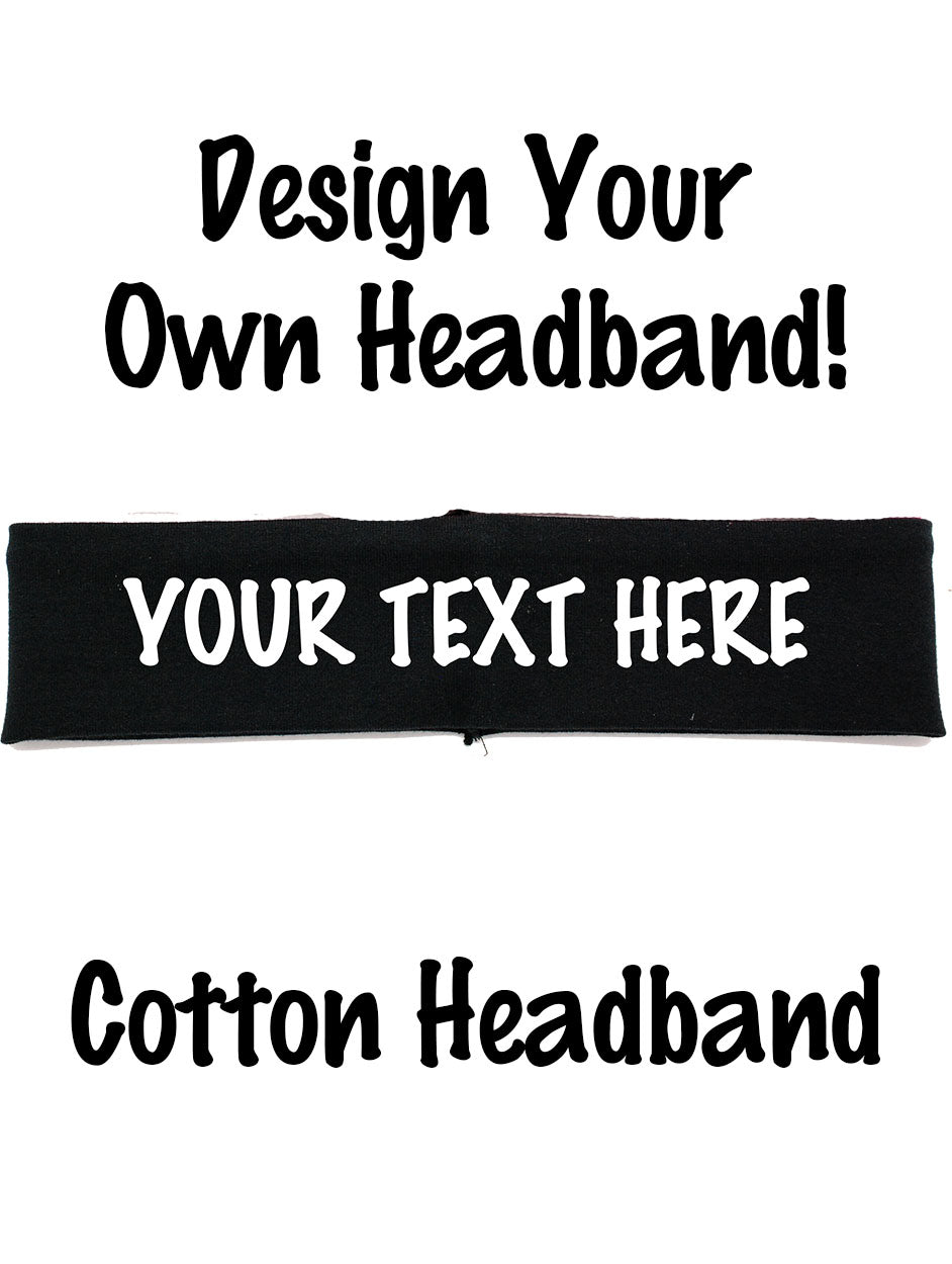 Custom Cotton CHEVRON Headband - Flat (Non Sparkle) Letters!