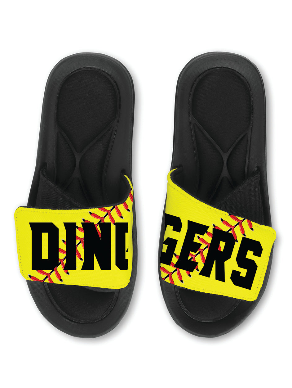 DINGERS Softball Slides Sandals - TEAM Softball Slides - FASTPITCH Slides