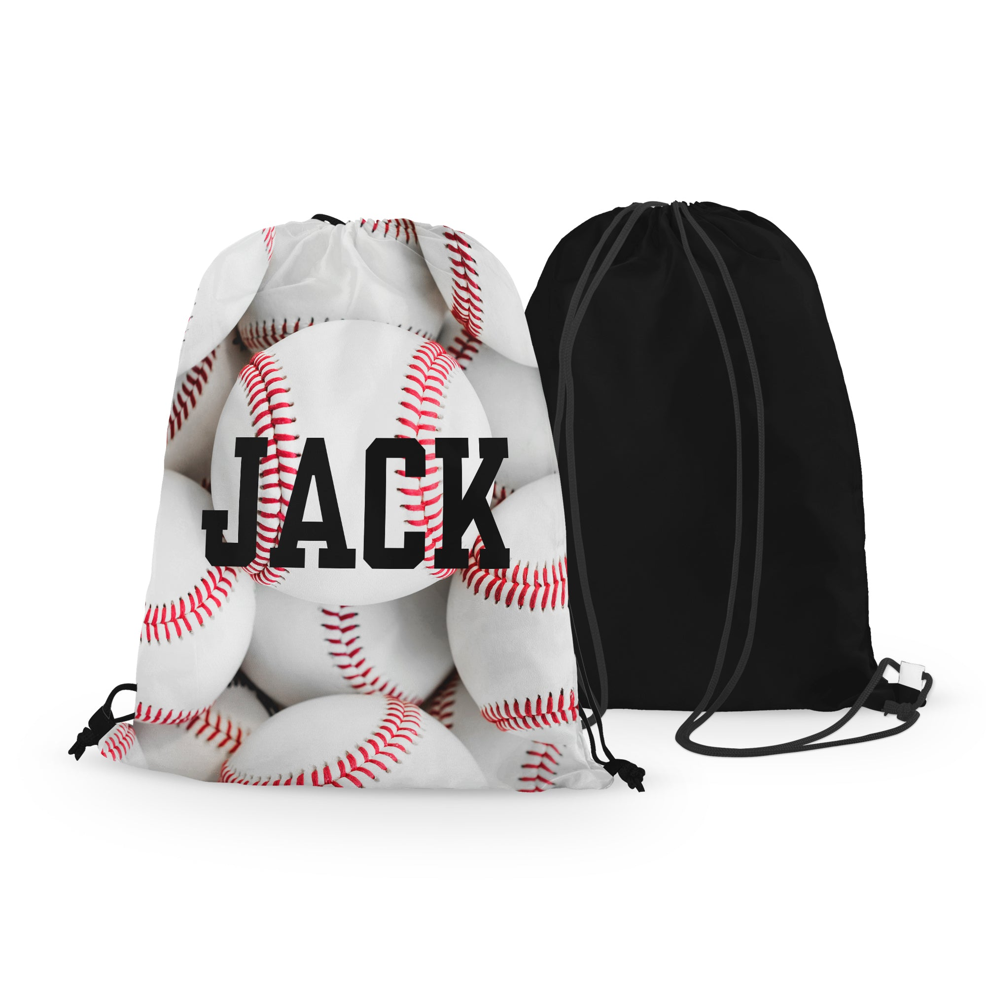 Personalized Baseball Drawstring Bag - Full Baseballs