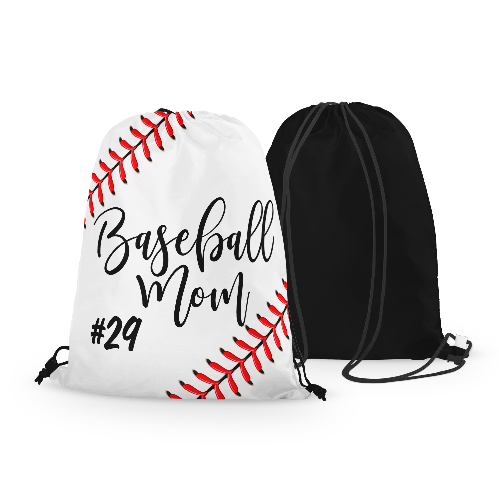 Personalized Baseball MOM Drawstring Bag