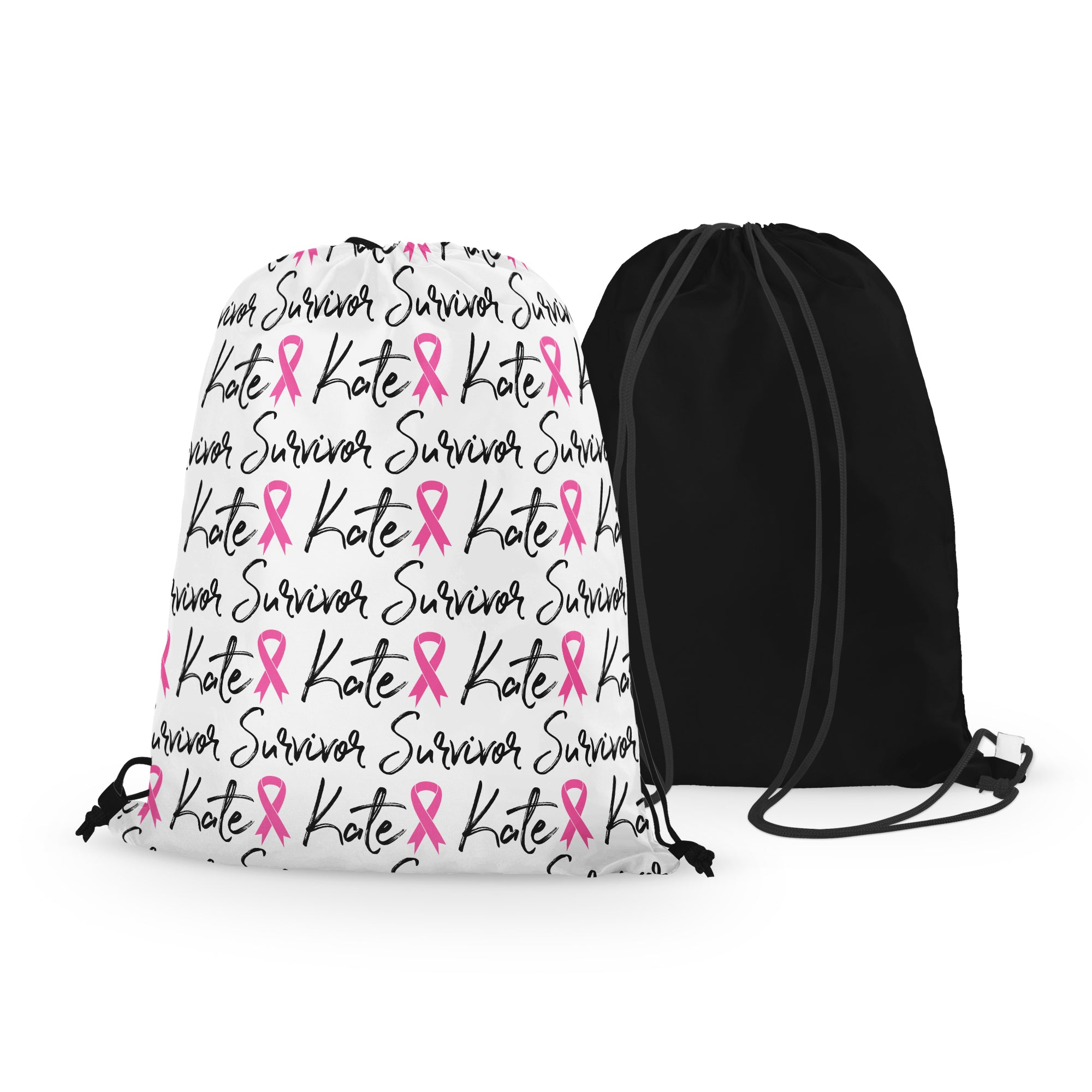 Personalized Breast Cancer Survivor Drawstring Bag