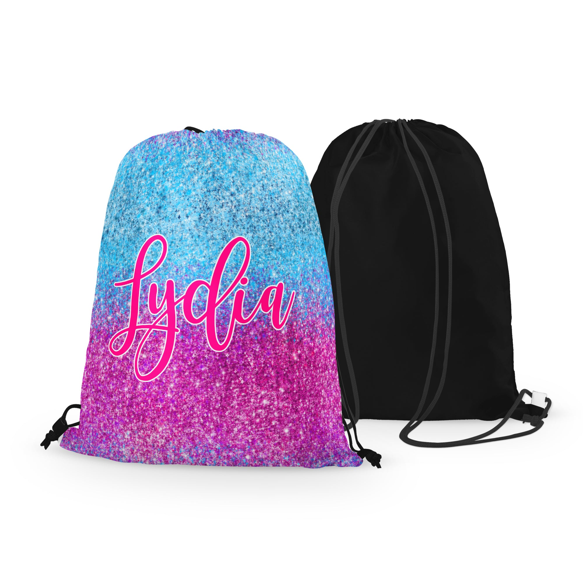 Personalized FAUX GLITTER Drawstring Bag