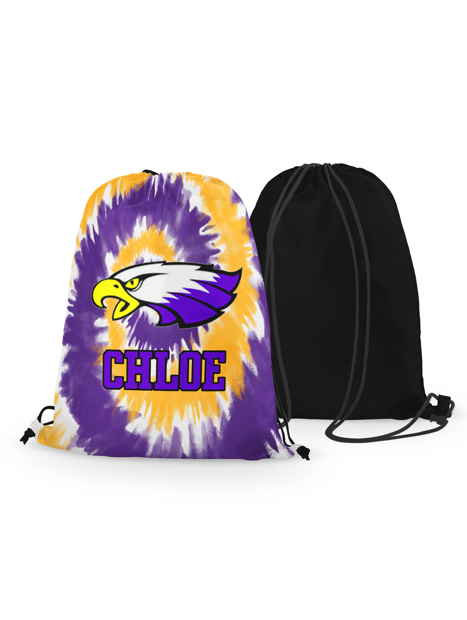 Drawstring Bag - Winger Bird - Tie Dye Background - Personalized