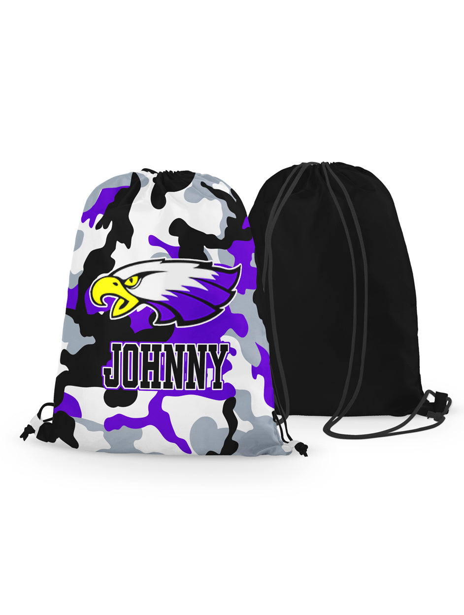 Drawstring Bag - Winger Bird - Camo Background - Personalized