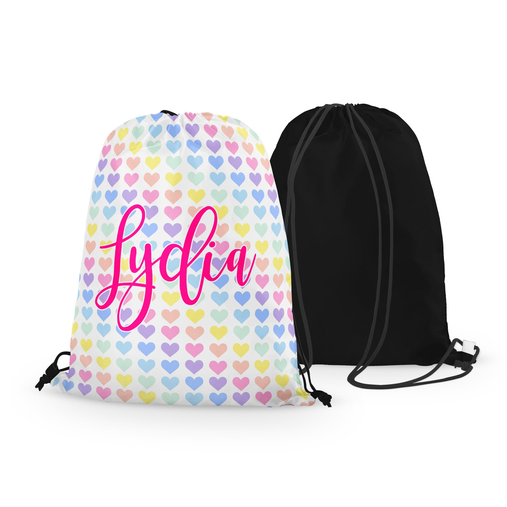 Personalized Rainbow Hearts Drawstring Bag
