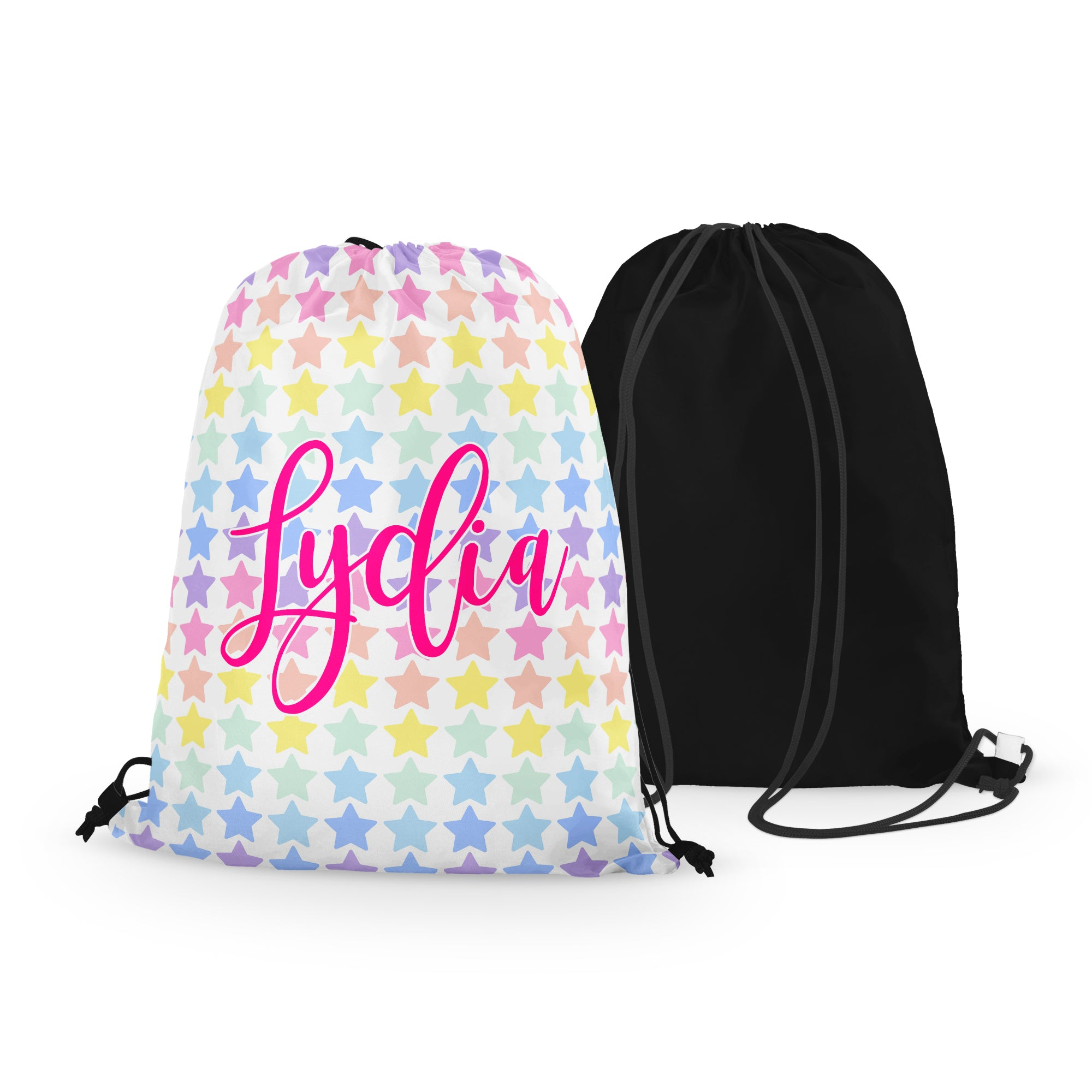 Personalized Rainbow Stars Drawstring Bag