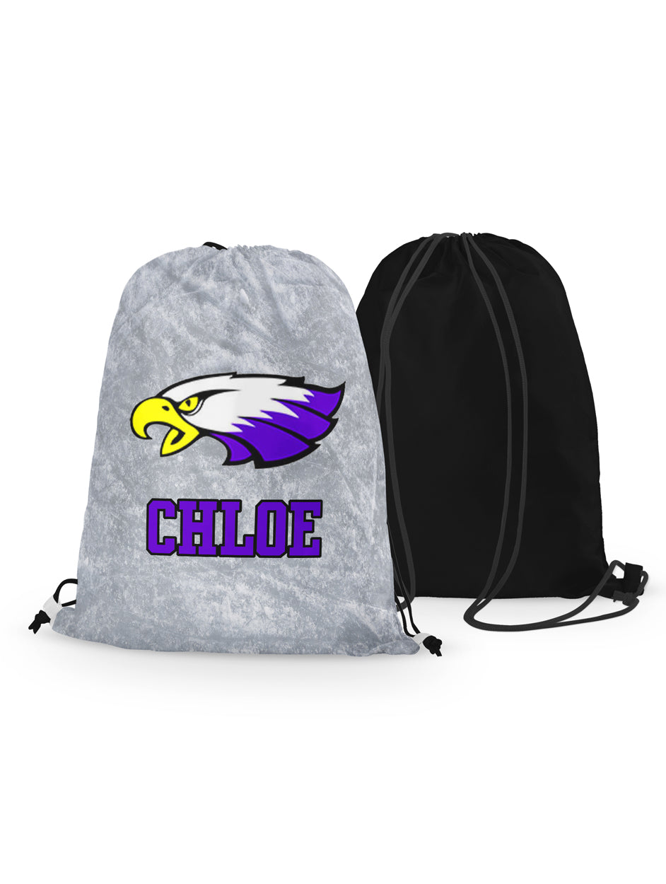 Drawstring Bag - Winger Bird - Ice Background - Personalized