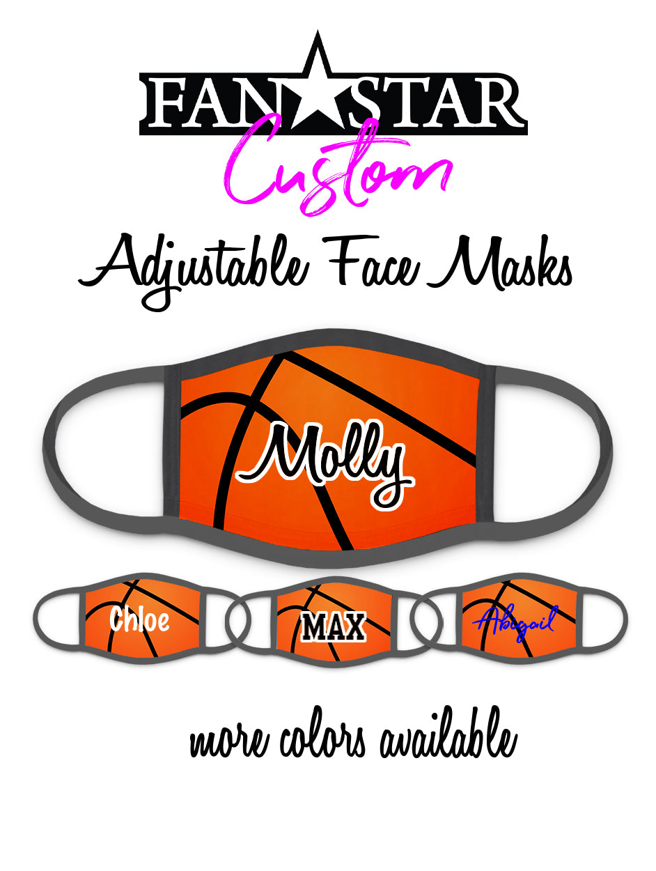 Custom Basketball Face Mask - Faux Basketball - Add Your Personalization!