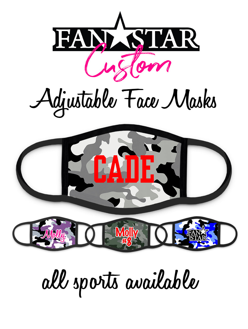 Custom Face Mask - Camo Background - Add Your Personalization!