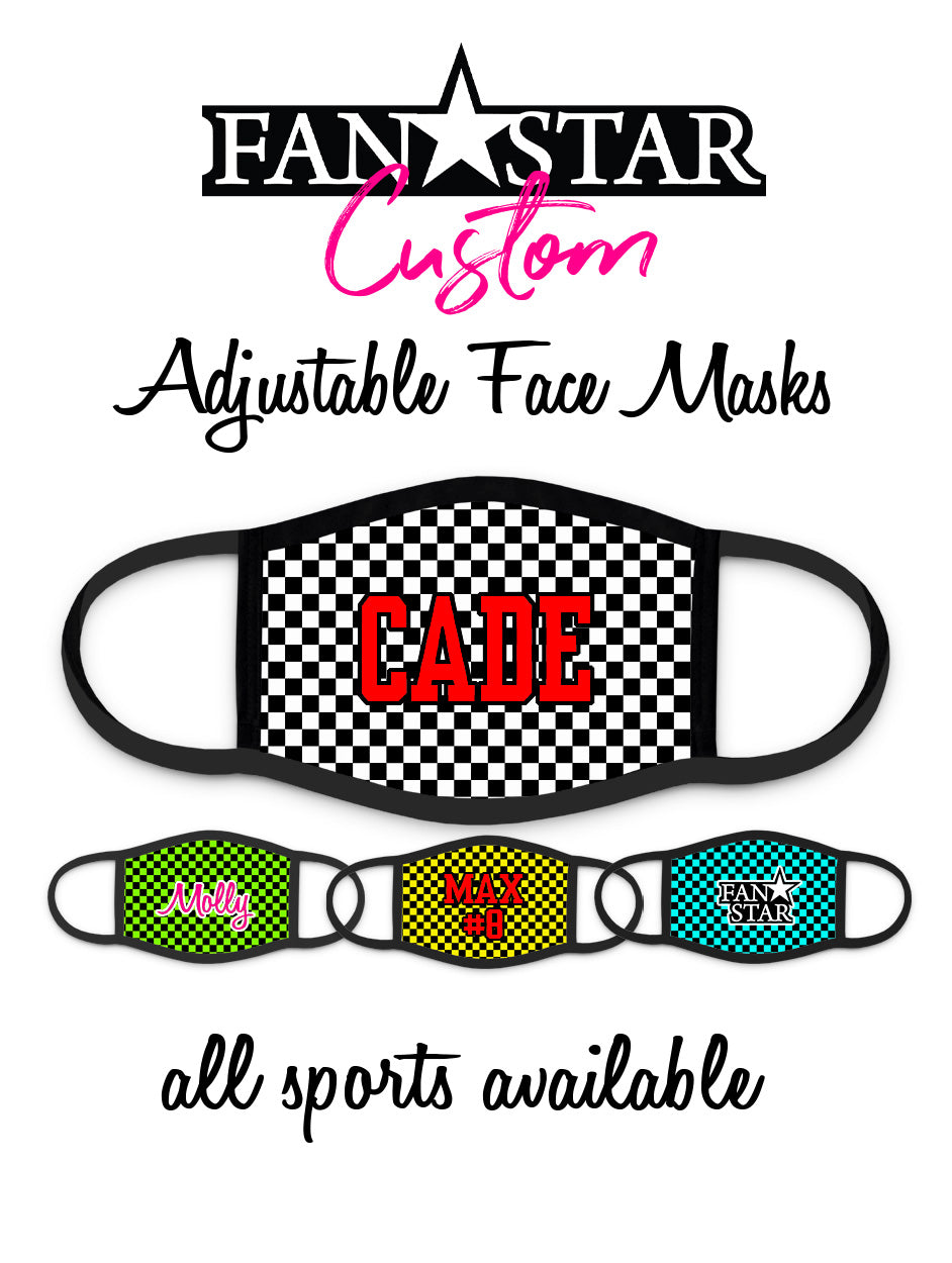 Custom Face Mask - Checkerboard Background - Add Your Personalization!