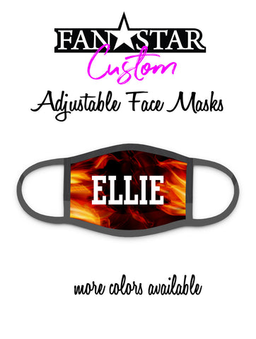 Custom Flames Face Mask - Fire Face Mask - Add Your Personalization!