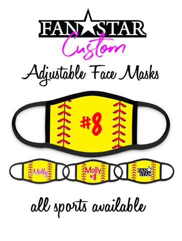 Custom Softball Laces Mask - Add Your Name/Number - Adult and Kids