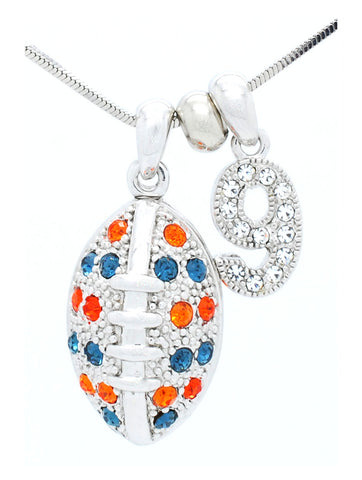 Large Football Necklace with 1 DIGIT - Navy/Orange