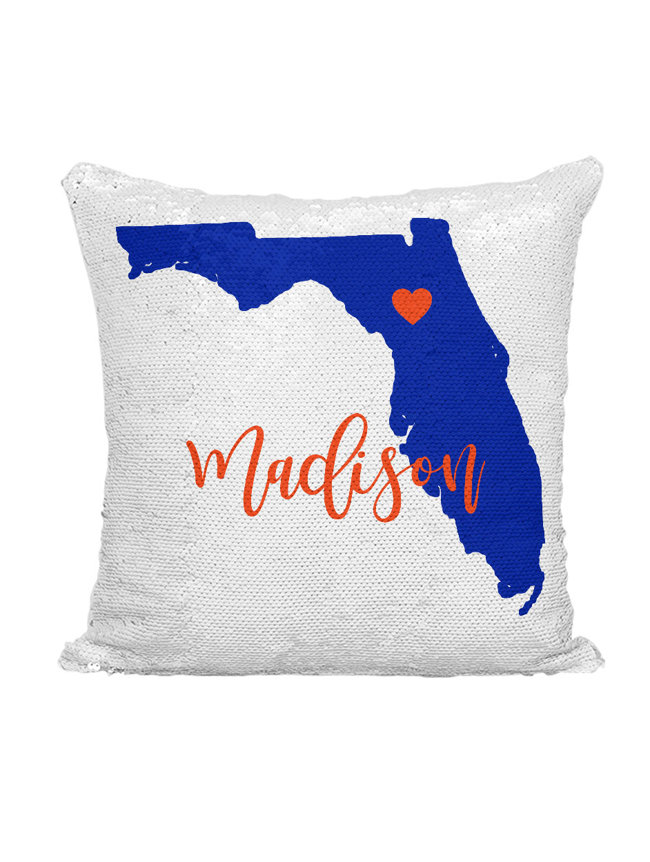 CUSTOM SEQUIN PILLOW - FLORIDA BLUE & ORANGE