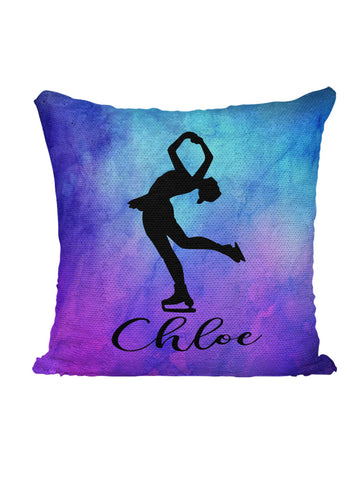 CUSTOM SEQUIN PILLOW - SKATING - Purple Watercolors