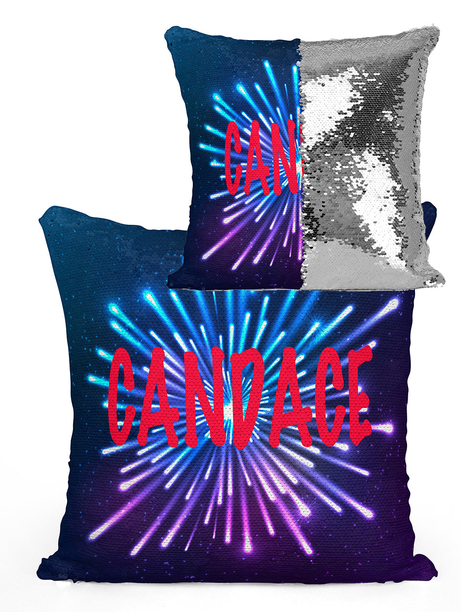 Custom Personalized FIREWORK Sequin Mermaid Flip Pillow