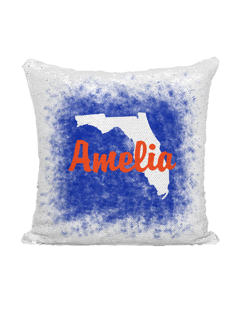 CUSTOM SEQUIN PILLOW - FLORIDA SPLATTER BLUE & ORANGE