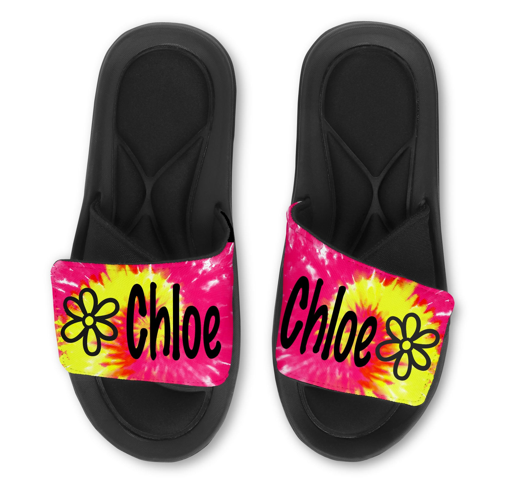 Flower Tie Dye Custom Slides / Sandals - Choose your Background!