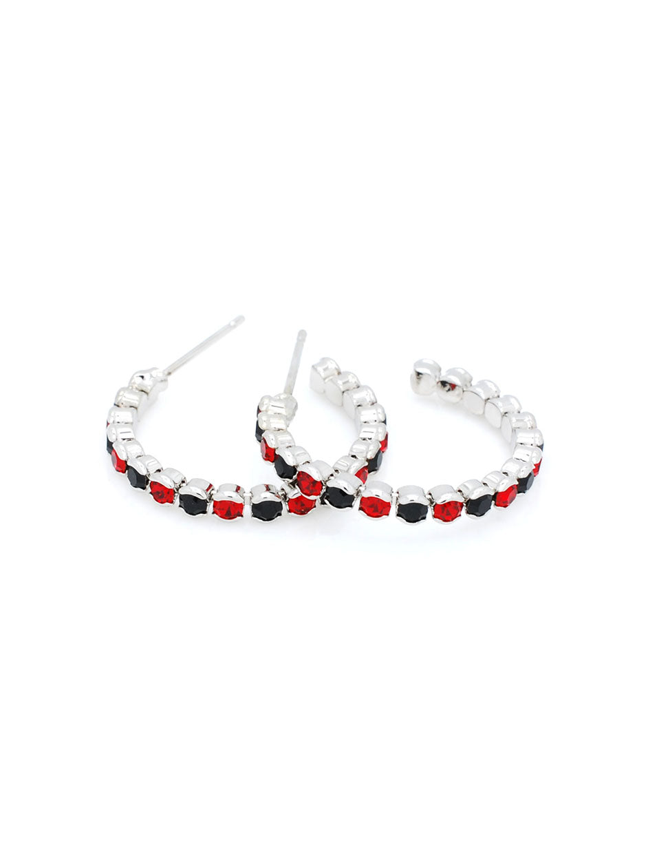Hoop Earrings Lightweight - Black/Red