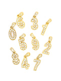 Number Pendant Charms - Gold Crystal