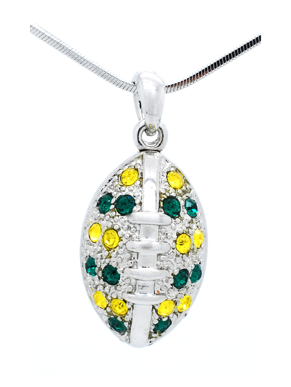 Large Football Necklace - Green/Gold