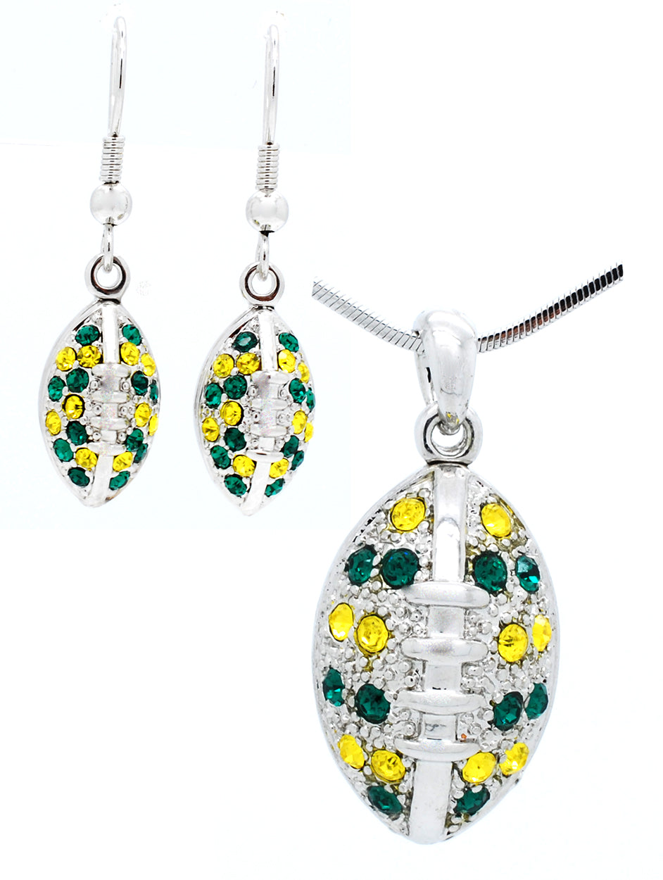 Large Football Necklace & Earring Set - Green/Gold