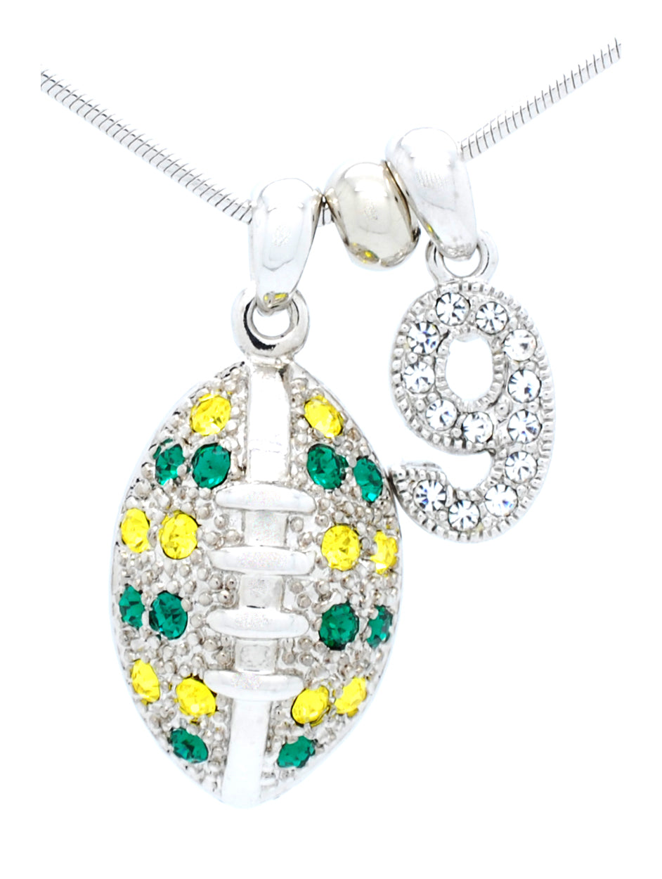 Large Football Necklace with 1 DIGIT - Green/Gold