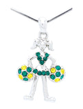 Cheer Necklace - Poms Down - Green/Gold