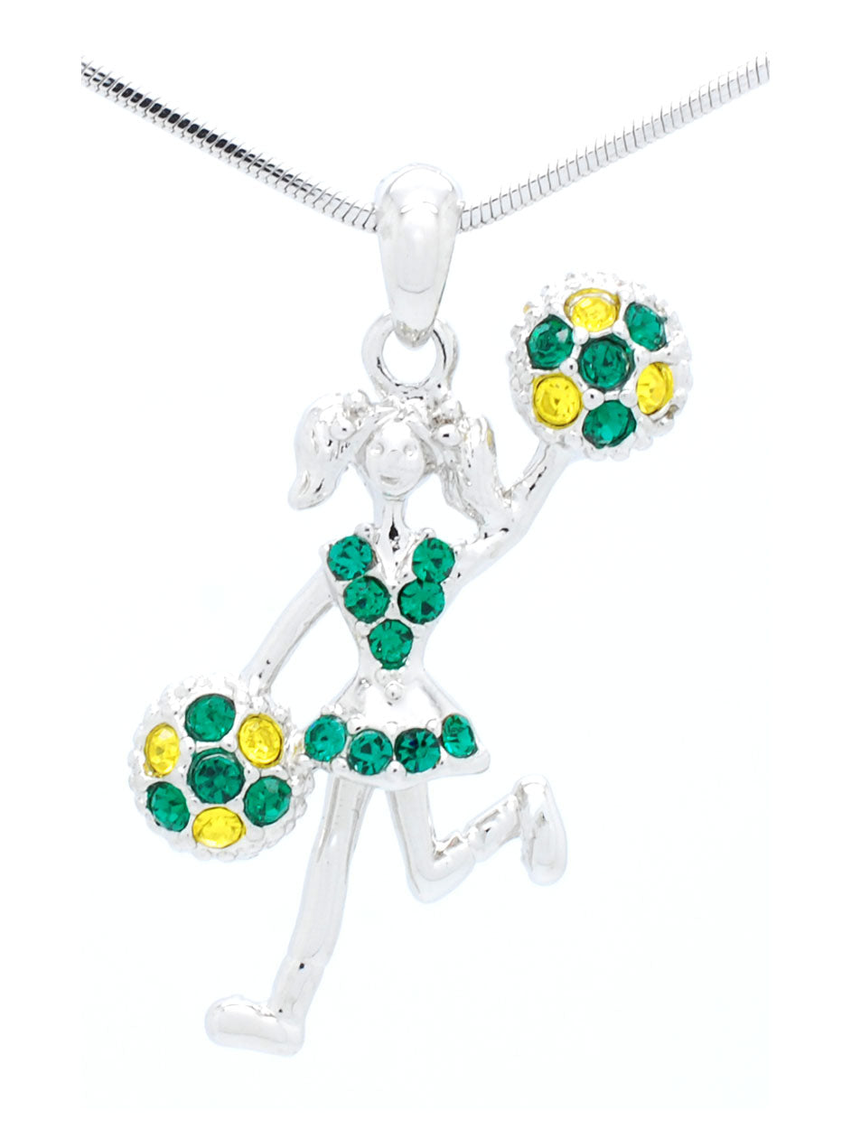 Cheer Necklace - Poms Half - Green/Gold