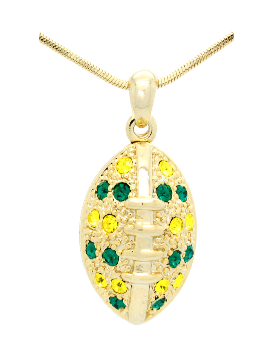 Large Football Necklace - Green/Gold (Gold Plated)