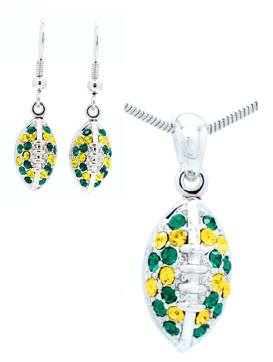 Mini Football Necklace & Earring Set - Green/Gold