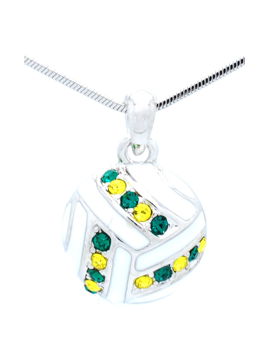 Volleyball Necklace - Green/Yellow