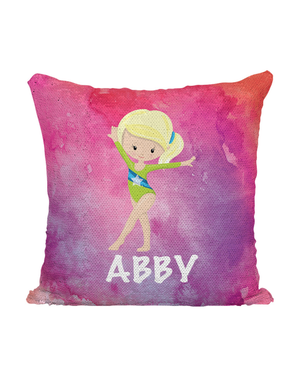 CUSTOM SEQUIN PILLOW - GYMNAST STANDING - Pink Watercolor