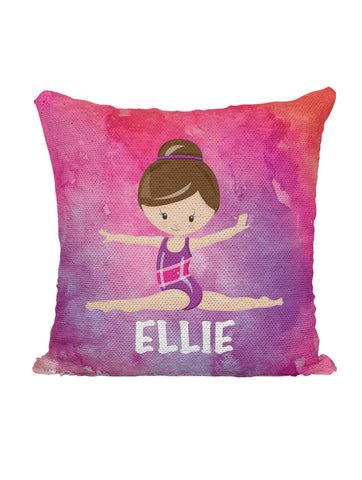 CUSTOM SEQUIN PILLOW - GYMNAST LEAPING - Pink Watercolor